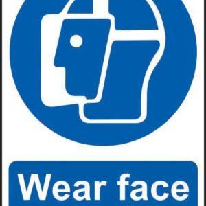 Wear Face Shield Sign, Self Adhesive Semi Rigid PVC (200 X 300mm)