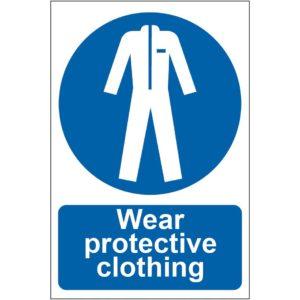 Wear Protective Clothing Sign, Self Adhesive Semi Rigid PVC (200 X 300mm)