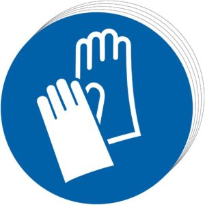 Wear Gloves Sign, Self Adhesive Vinyl (100mm Dia.) (Pack Of 10)