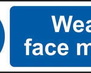 Wear Face Mask Sign, Rigid PVC (300mm X 100mm)