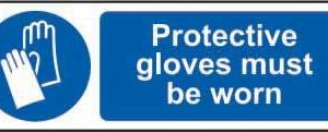 Protective Gloves Must Be Worn Sign, Rigid PVC (600mm X 200mm)