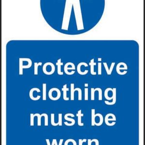 Protective Clothing Must Be Worn Sign, Self Adhesive Vinyl (400 X 600mm)