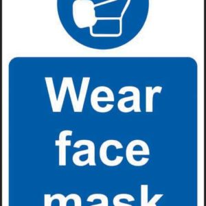Wear Face Mask Sign, Self Adhesive Vinyl (200 X 300mm)