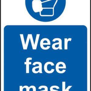 Wear Face Mask Sign, Rigid PVC (400mm X 600mm)