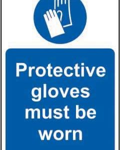 Protective Gloves Must Be Worn Sign, Rigid PVC (200mm X 300mm)