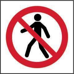 No Thoroughfare Symbol Sign, Rigid 1mm PVC Board (100mm X 100mm)