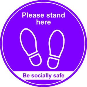 400mm Floor Graphic Please Stand Here – Purple
