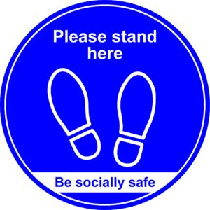 400mm Floor Graphic Please Stand Here – Blue