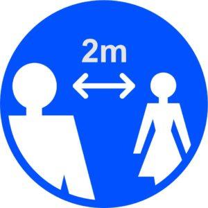 2m Apart Floor Graphic, Blue (400mm Dia)