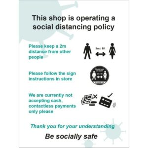 This Shop Is Operating A Social Distancing Policy B – SAV (300 X 400mm)