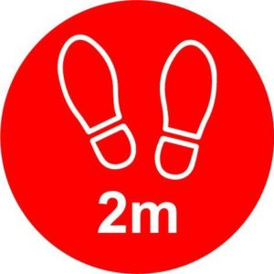 2m Apart Floor Graphic, Red (200mm Dia.)