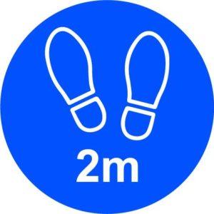 2m Apart Floor Graphic, Blue (200mm Dia.)