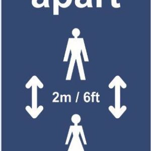Keep 2m Apart (B) Post/Bollard Sign – CRX (800mm High For 200mm Dia. Post)