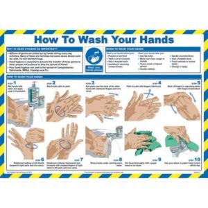 Safety Poster – How To Wash Your Hands – LAM (590 X 420mm)