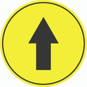 DIRECTIONAL ARROW EXTERNAL FLOOR STICKERS YELLOW 400mm
