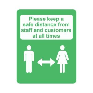 Please Keep A Safe Distance Laminated Vinyl Sticker Green