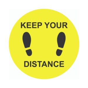 Keep Your Distance External Floor Sticker Yellow