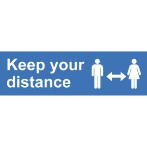 Keep Your Distance External Floor Sticker Blue