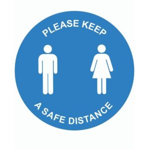 Please Keep A Safe Distance Internal Floor Sticker Blue Circle