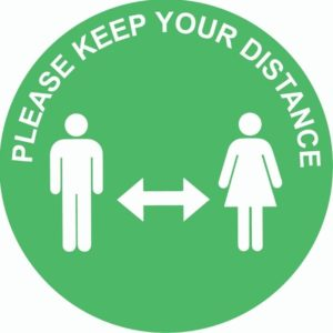 Please Keep A Safe Distance Internal Floor Sticker Green Circle
