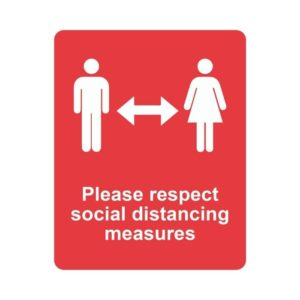Please Keep A Safe Distance Laminated Vinyl Sticker Red