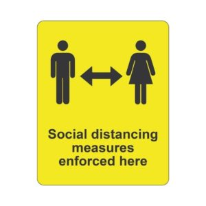 Please Keep A Safe Distance Laminated Vinyl Sticker Yellow