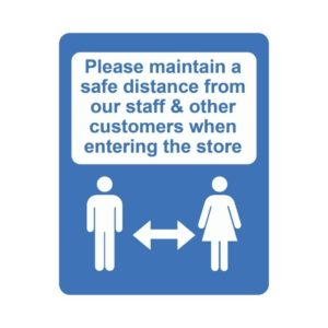 Please Keep A Safe Distance Laminated Vinyl Sticker Blue